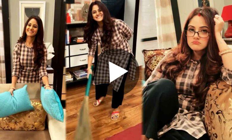 Khorkuto actress Trina Saha doing house work