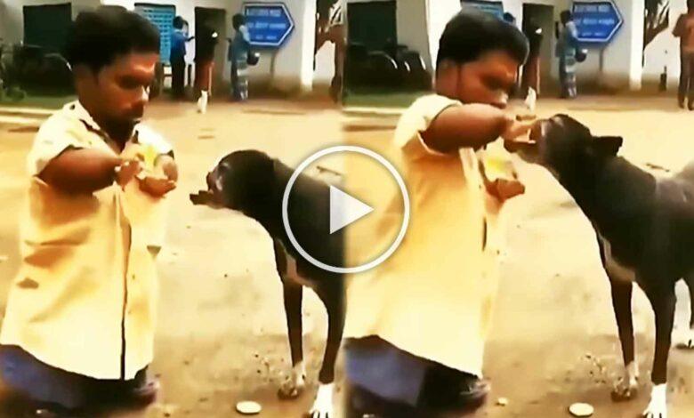 Handicape Man feeds dog viral video