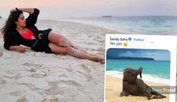Sandy Saha Comment on Oindrila Sen Photo